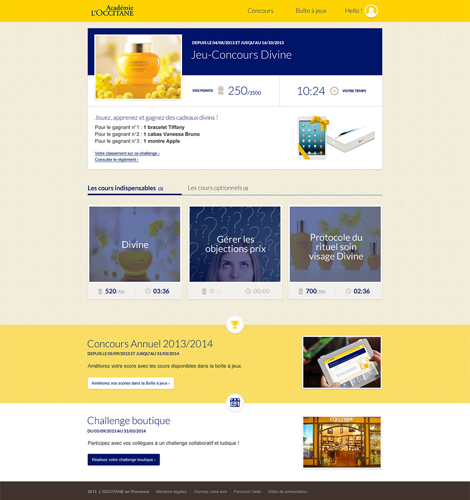 Dispositif e-learning pour de l'apprentissage en ligne L'OCCITANE