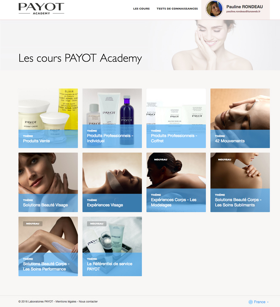 Dispositif e-learning pour un apprentissage en ligne PAYOT Academy